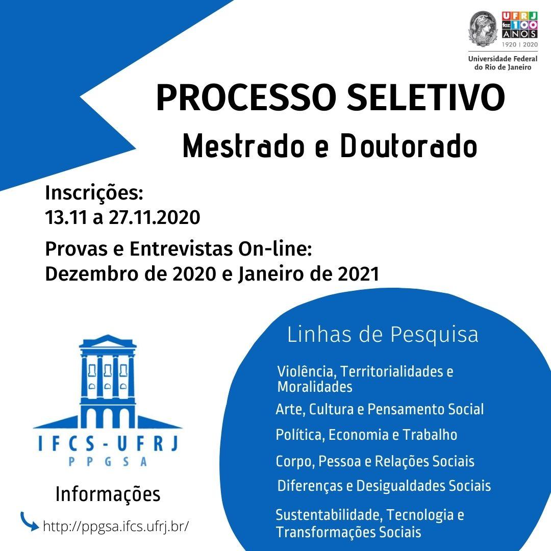 Processo Seletivo para Mestrado e Doutorado – Turma 2021 – PPGSA